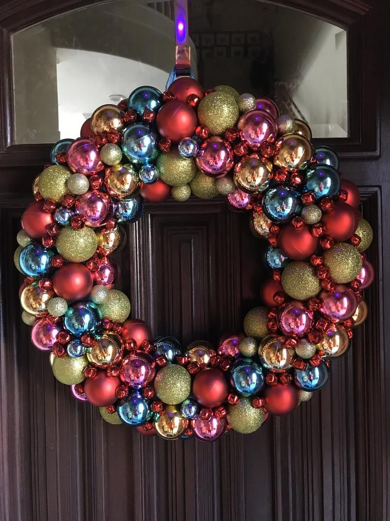Awesome Grinch Colored Christmas Ornament Wreath Loaded With Etsy Ornament Wreath Christmas Ornament Wreath Rainbows Christmas