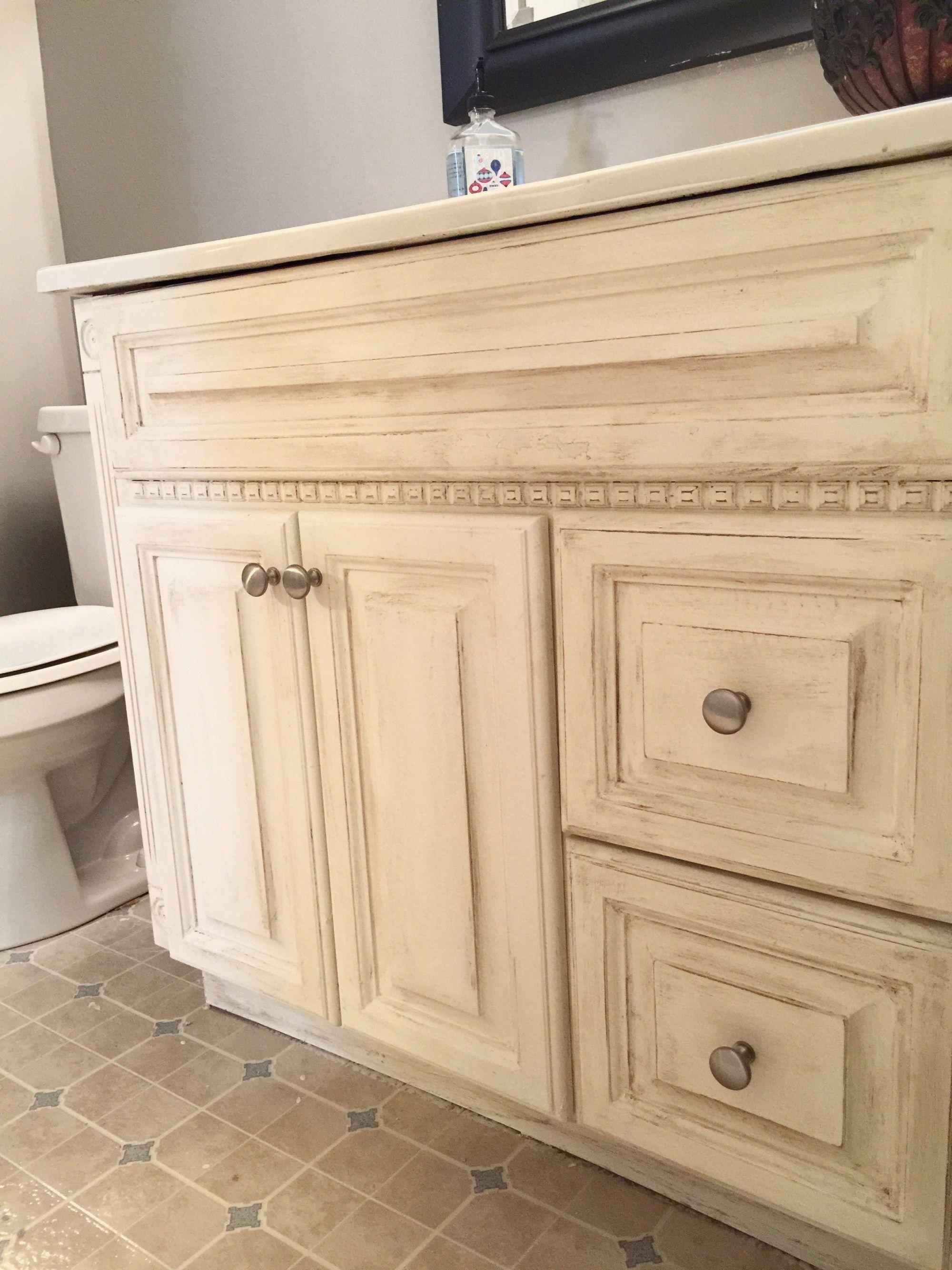 Painting Oak Bathroom Vanity with Annie Sloan Chalk Paint | Kitchen ...