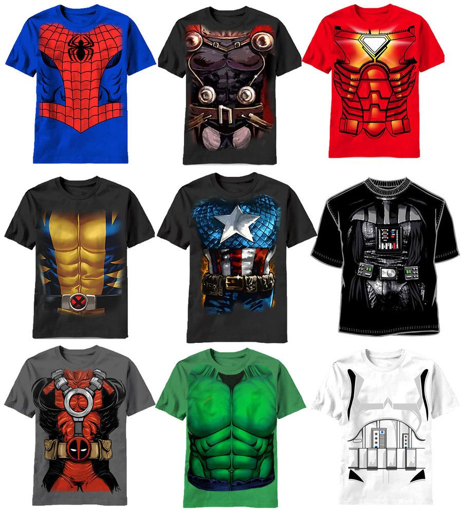 Marvel Superhero Costume Tee Shirts Spiderman Wolverine Deadpool ...