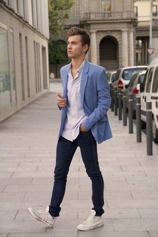 Men S Light Blue Blazer White Long Sleeve Shirt Navy Jeans White Canvas High Top Sneakers Mens Fashion Denim Mens Outfits White Jeans Men
