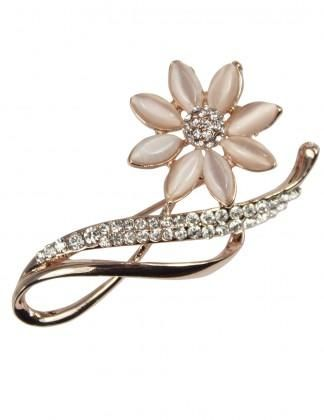 Dahlia Women's Brooch Pin - Faux Opal Flower with Rhinestone Leaf
