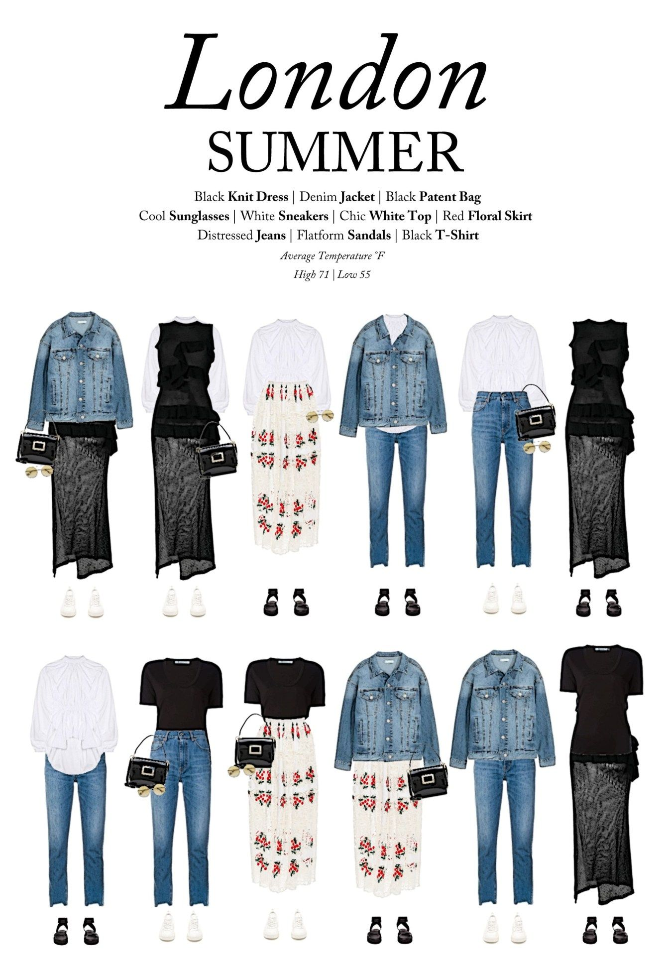 What You Should Be Wearing To London This Summer By Outfits For Travel London Summer Outfits London Outfit London England Fashion