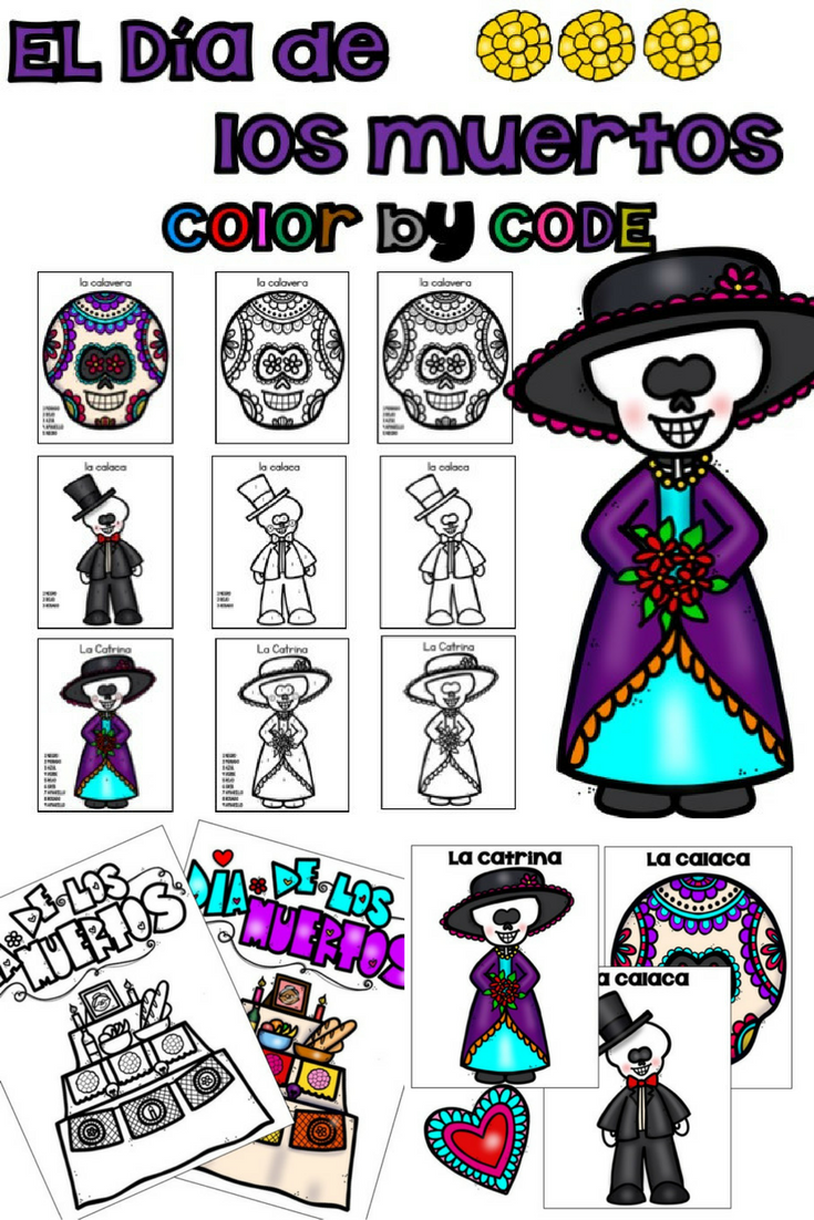 El Día de los Muertos / Day of the Dead Color by Number | Spanish ...