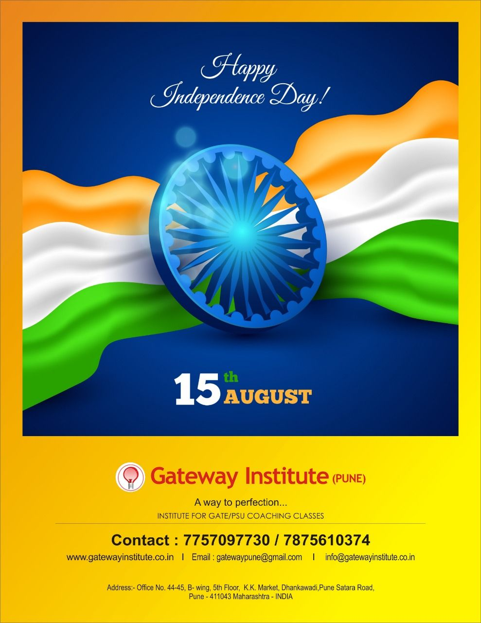 Happy Independence Day from Gateway Institute Pune