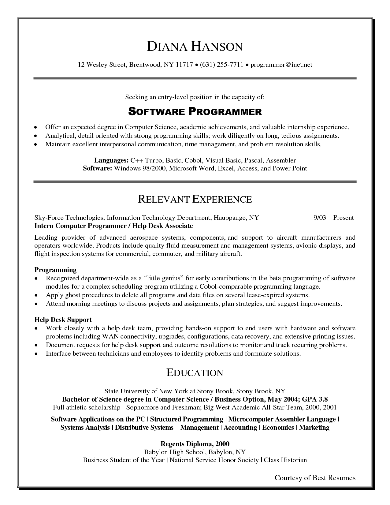 programming resume exles best programming resume