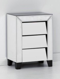 Patricia Range Mirrored 3 Drawer Bedside Table 3 Drawer