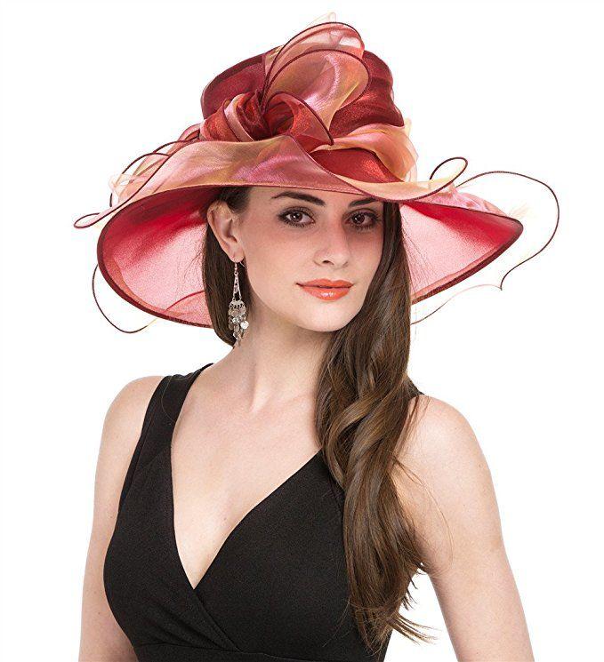 db8d2fab Saferin Women's Organza Church Derby Fascinator Bridal Cap British Tea  Party Wedding Hat Material: Organza. 100% Polyester This fabulous wide brim  hat has a ...