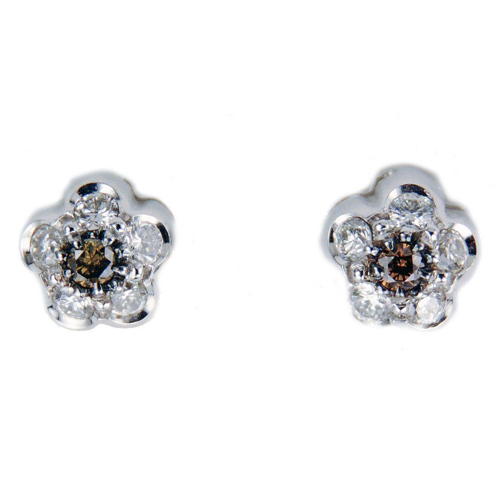 Diamond And Champagne Flower Cer 18k White Gold Stud Earrings