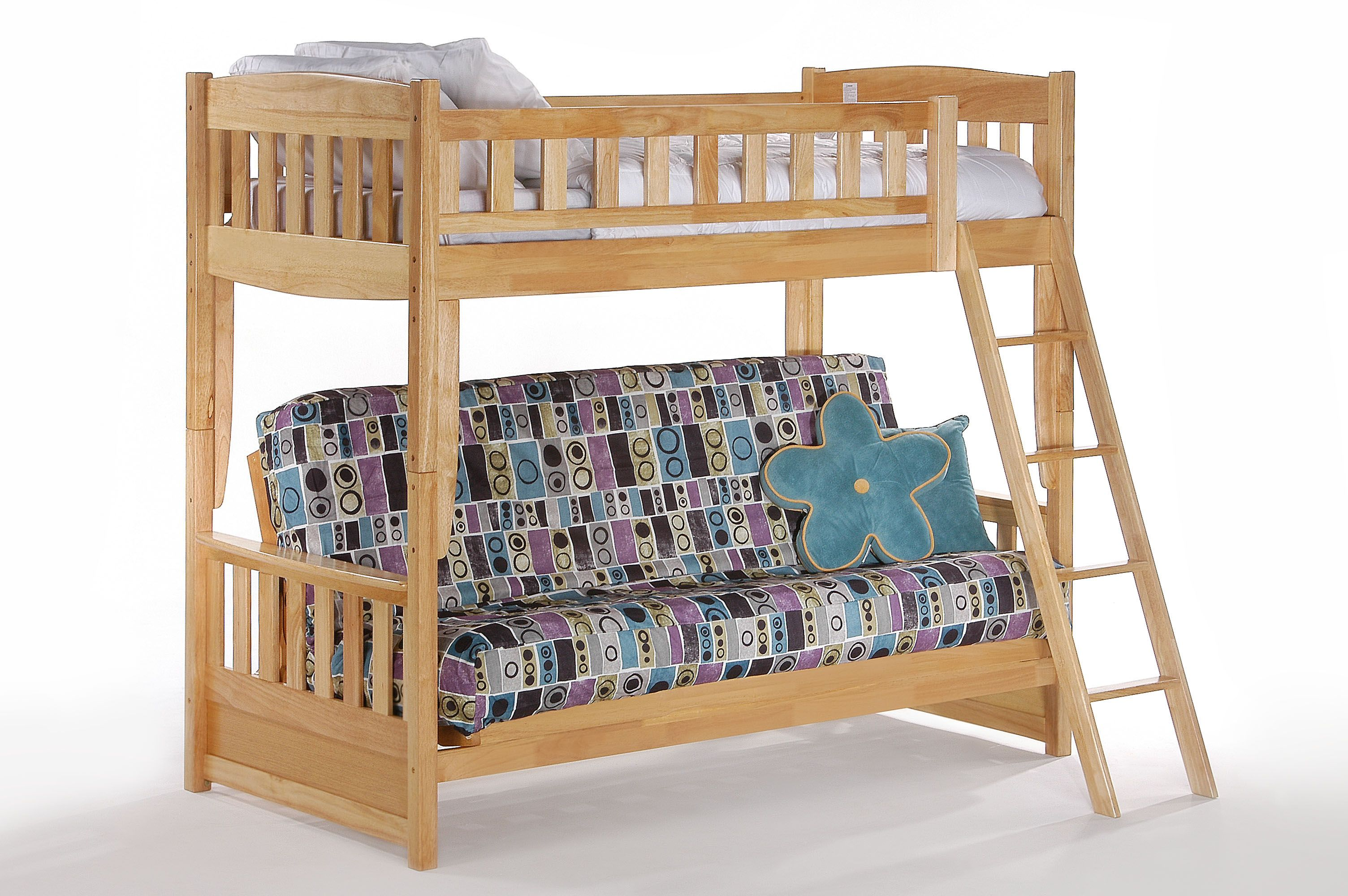 Cinnamon Futon Bunk Night Day Double Twin Bed Size Frame With Made Of High Density Wood Imported From Malaysia