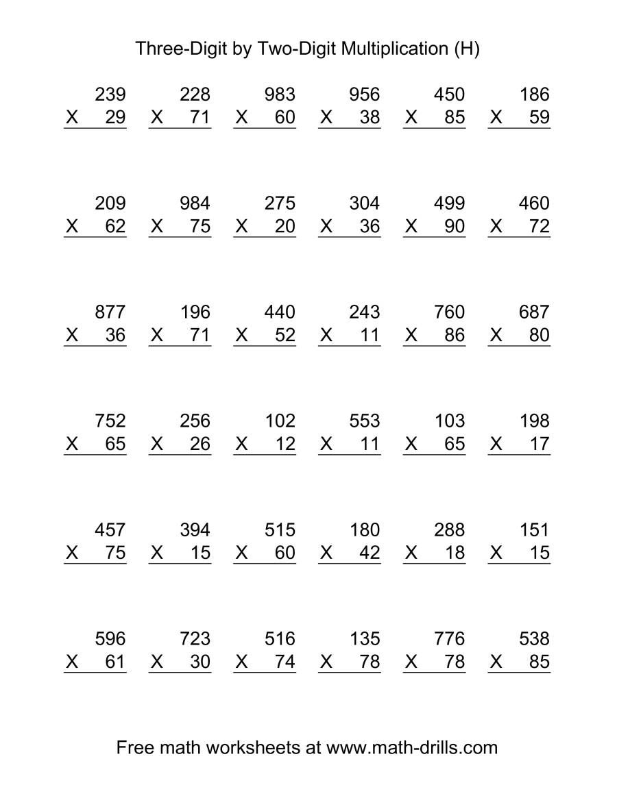 The Multiplying Three Digit By Two Digit 36 Per Page H Math Worksheet In 2020 Multiplication Two Digit Multiplication Mathematics Worksheets