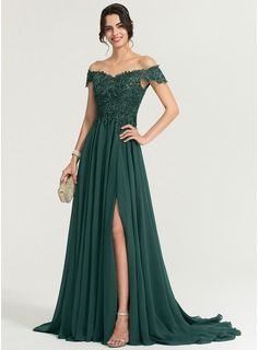 8ef4be8415 A-Line/Princess Scoop Neck Floor-Length Chiffon Prom Dresses With Beading  Sequins (018163269) - DressFirst