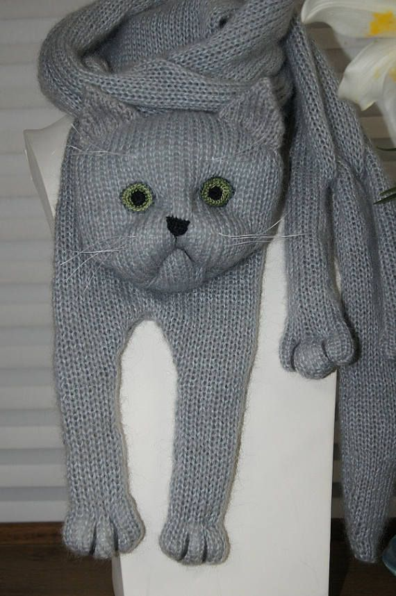 Russian Blue Cat Scarf Knitting Animal scarf-Cat Lover Gray Cat ...