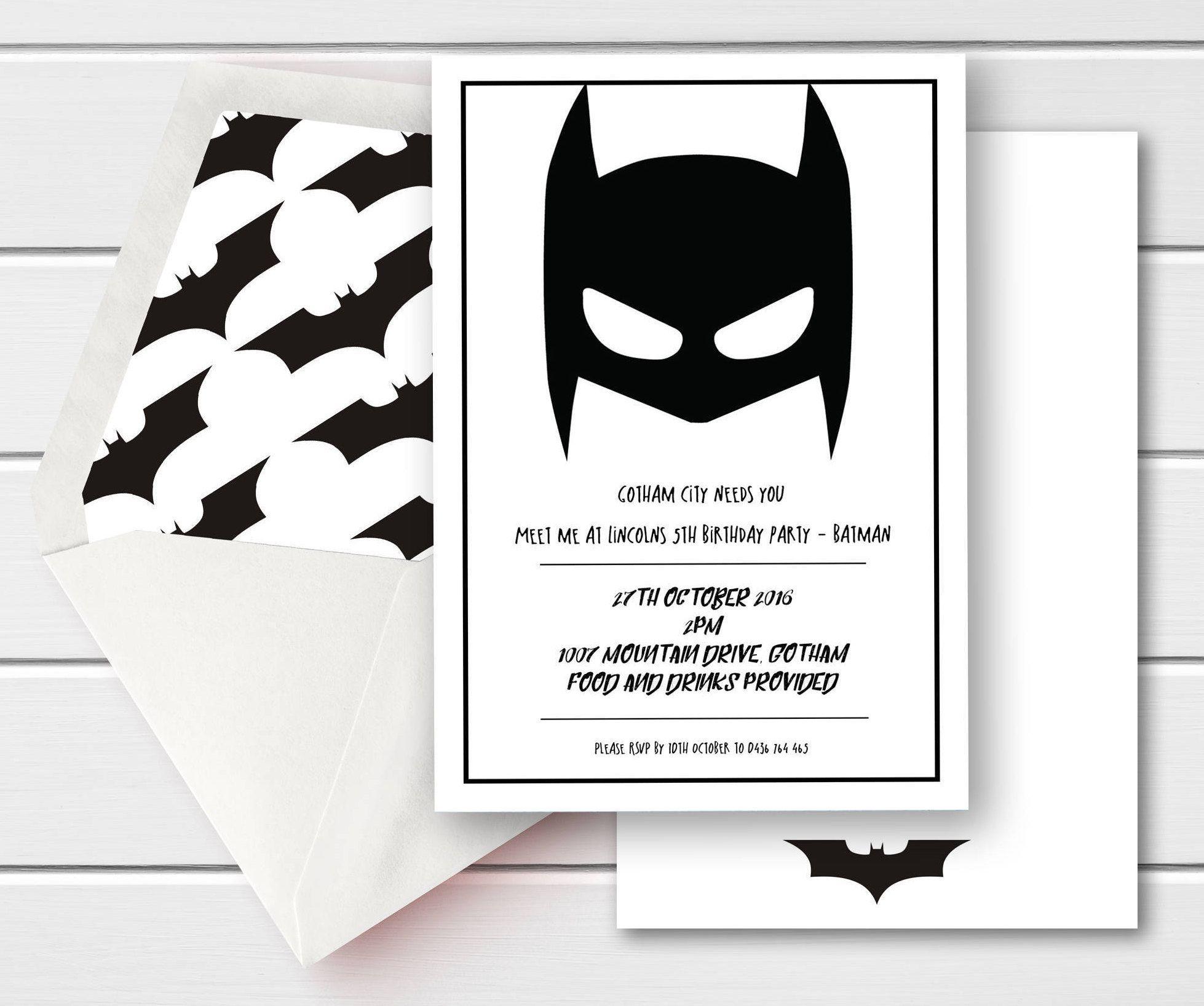 Batman Birthday Invite, Batman Birthday Invitation, Marvel Birthday ...