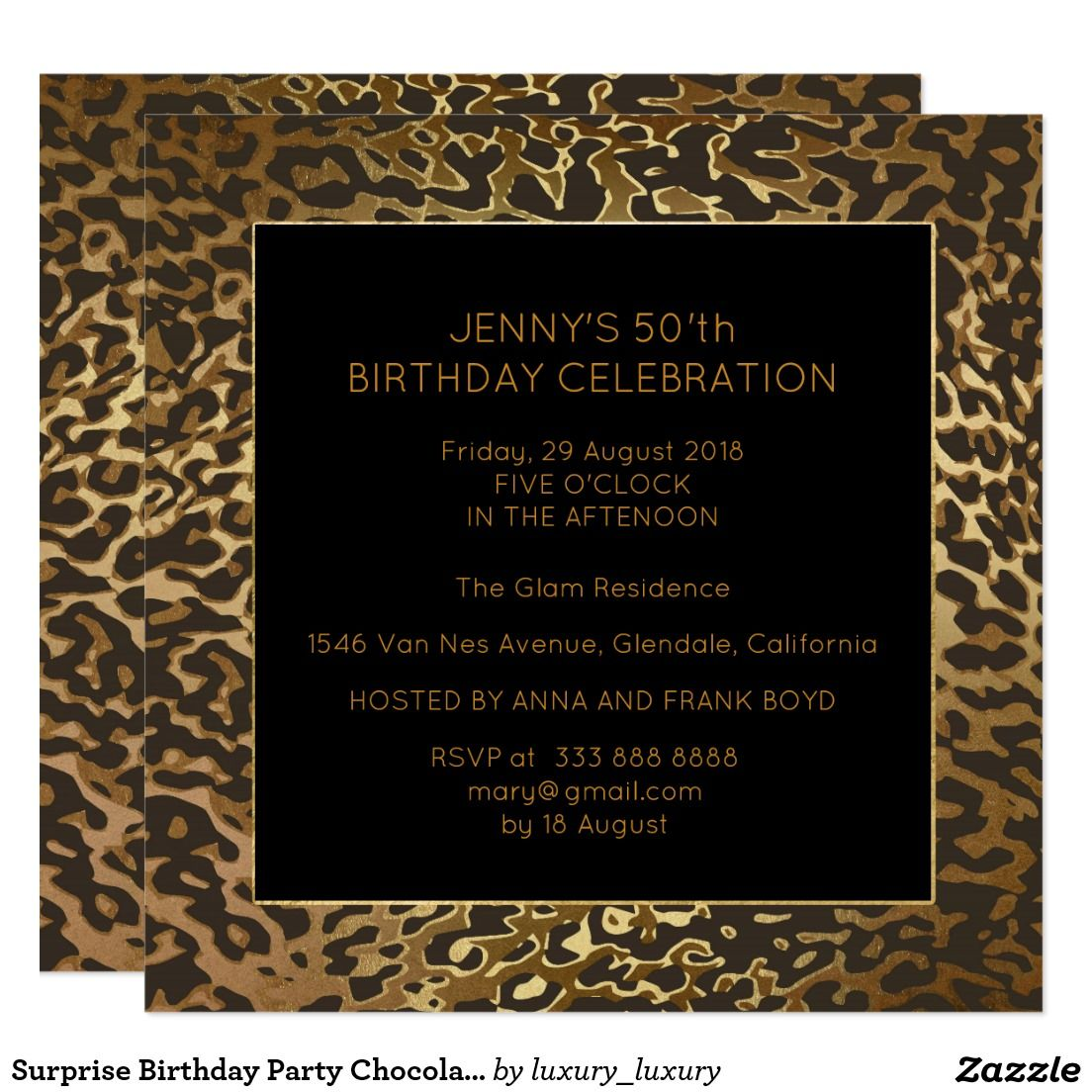 Surprise Birthday Party Chocolate Gold Animal 13 Cm X 13 Cm Square ...