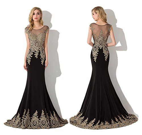 9f4ad000b3a Babyonline Trumpet Long Evening Dress Lace beads Cap Sleeve Party Prom gowns
