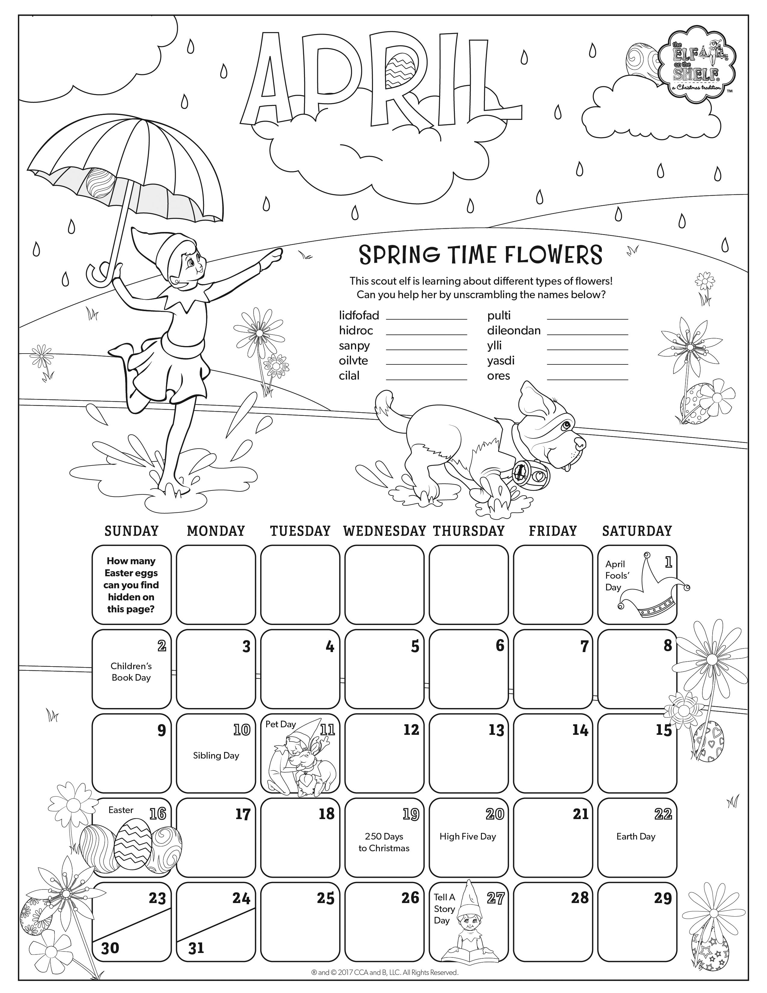Coloring pages april