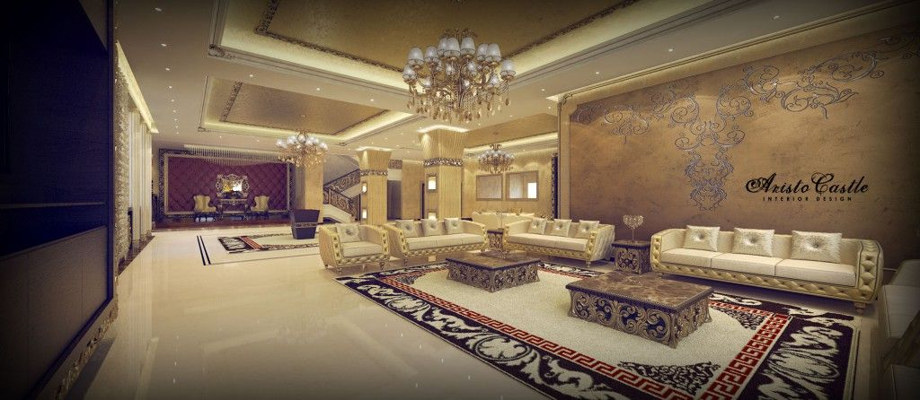 Palace Interior Design By Aristo Castle. Classic Majlis Interior Design,  Chandelier, Sofa, Coffee Table