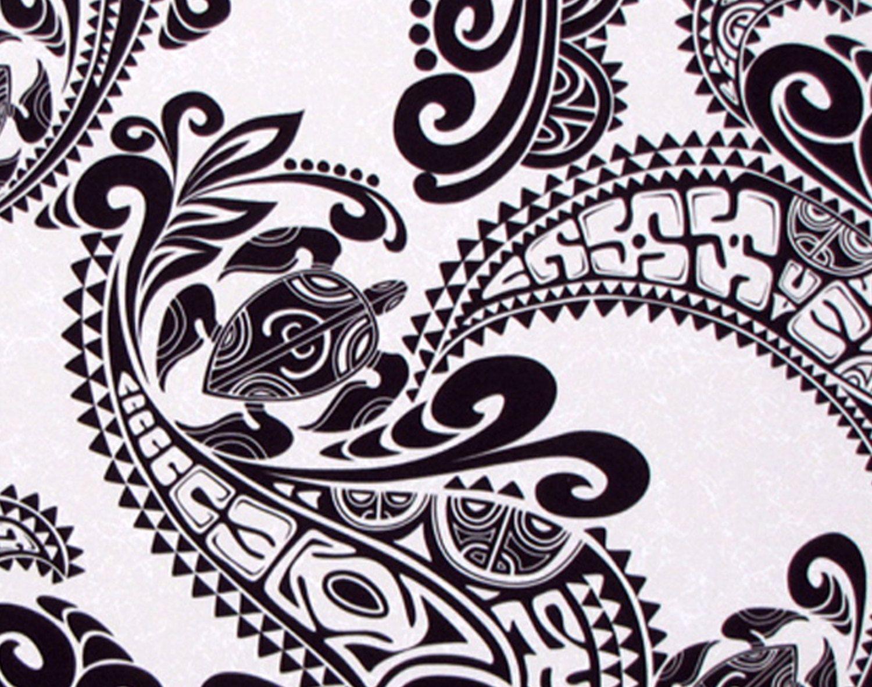 Hawaiian Fabric, Sea Turtles, Swirl Tapa Patterns In Black
