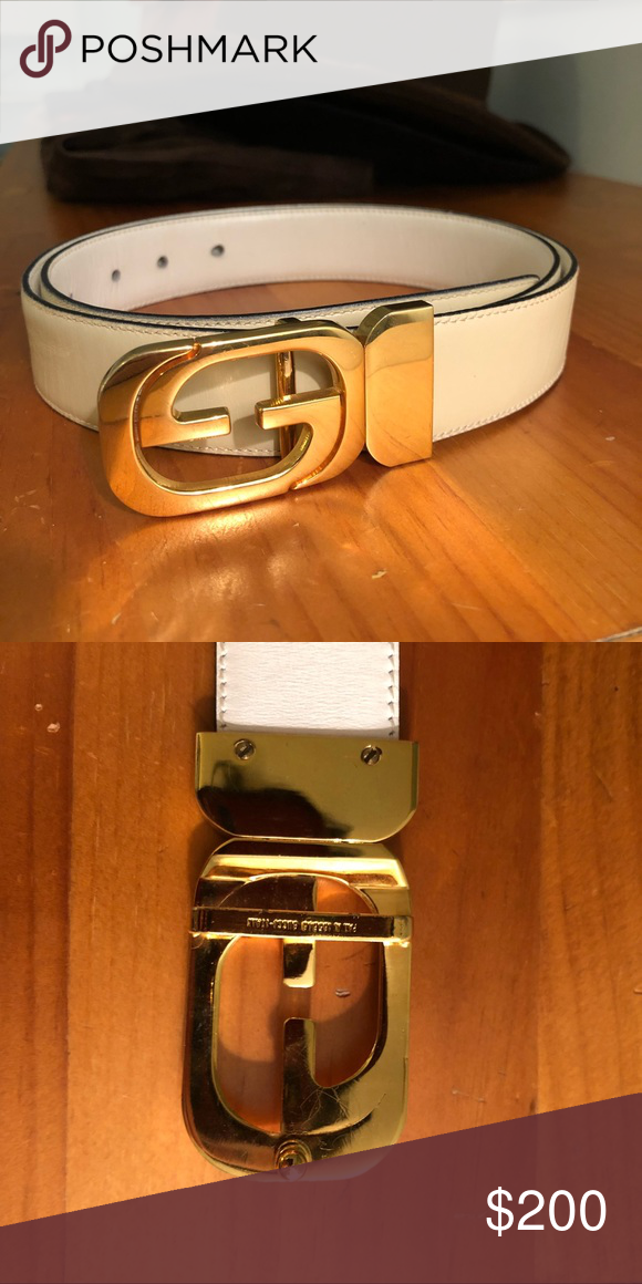 89fc4cdc6 Gucci Leather Belt Gold buckle leather vintage Gucci belt. Fits waist/hips  sizes 26-38. Approx. 41 inches long minus the buckle. Gucci Accessories  Belts