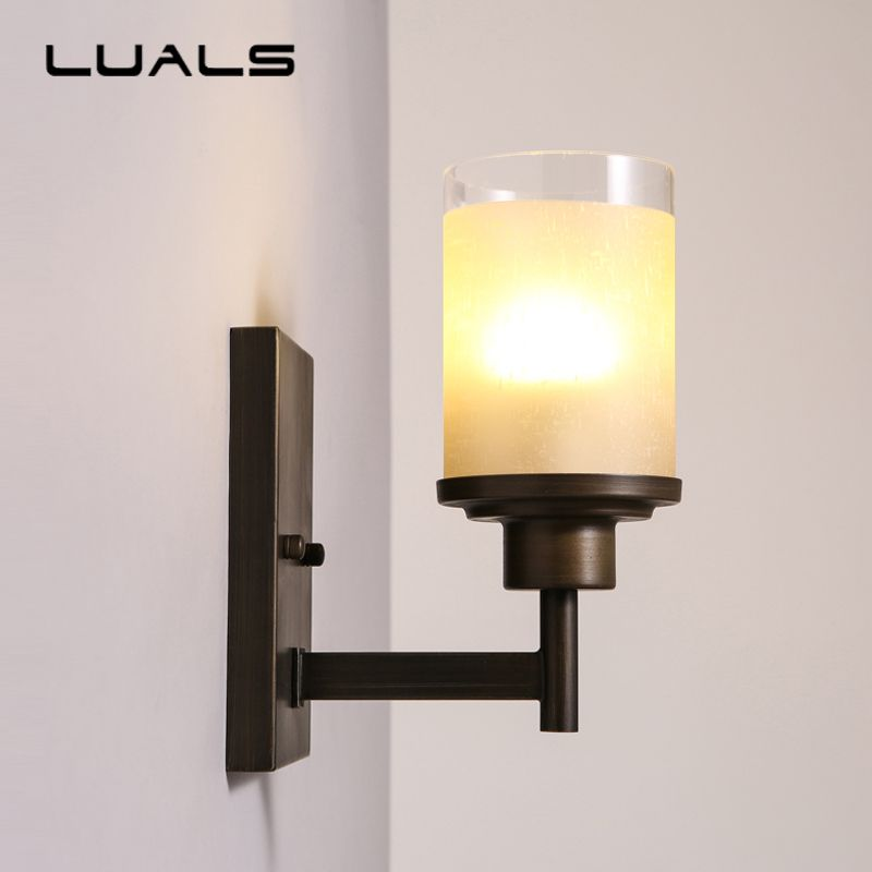 Luals American Style Wall Lamp Contracted Sitting Room Wall Light Metal Bedroom Bedside Vintage Wall Lamps Art Deco Ligh Art Deco Lighting Wall Lights Lighting