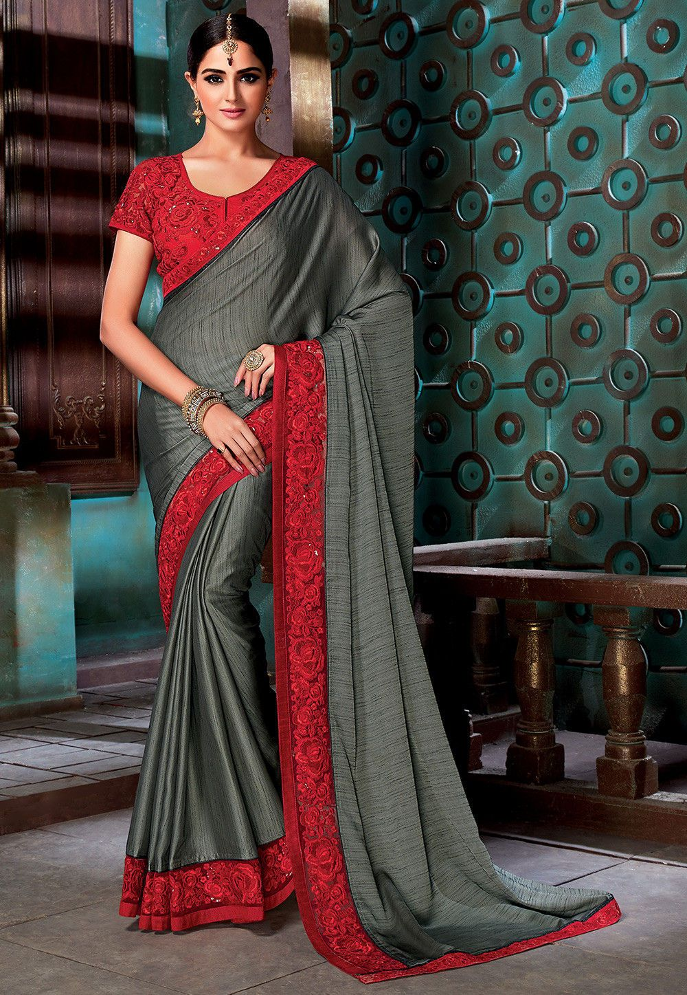 5499f3a321d738 Buy online Embroidered Border Art Silk Saree in Grey now