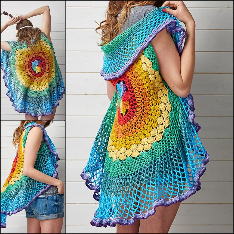 Crochet Pretty Circle Jacket with Pattern | Círculos, Chalecos de ...