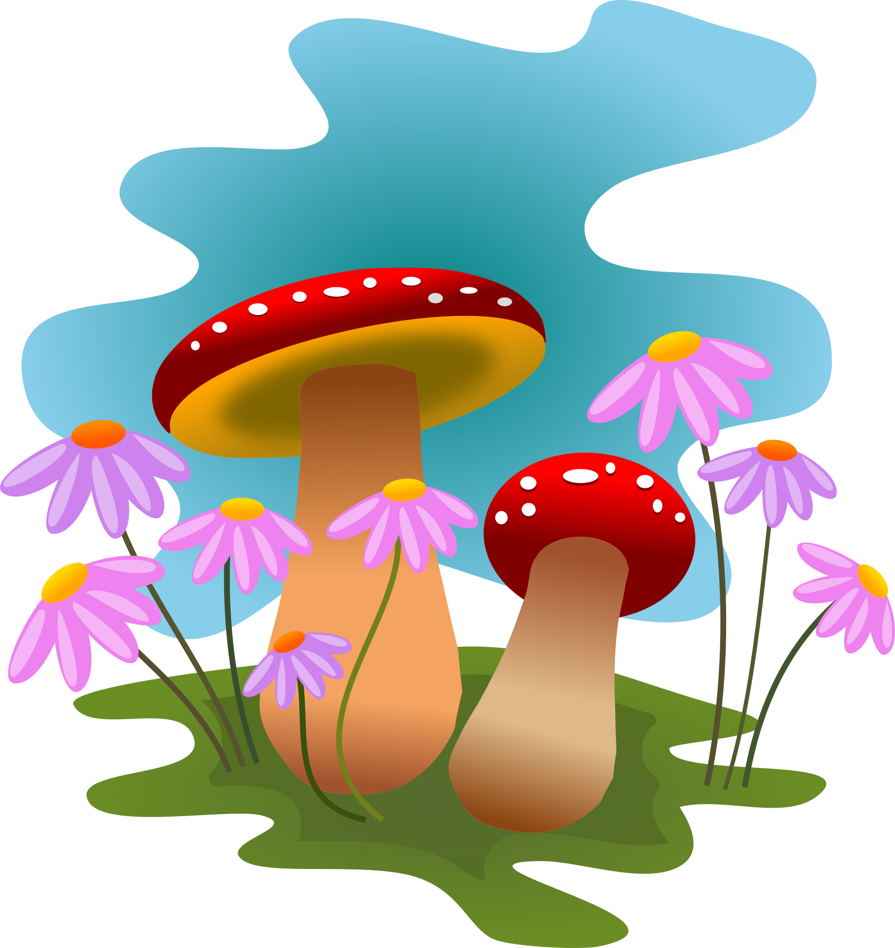 mushrooms and flowers clipart 1812x1920 clip art everyday for rh pinterest ca