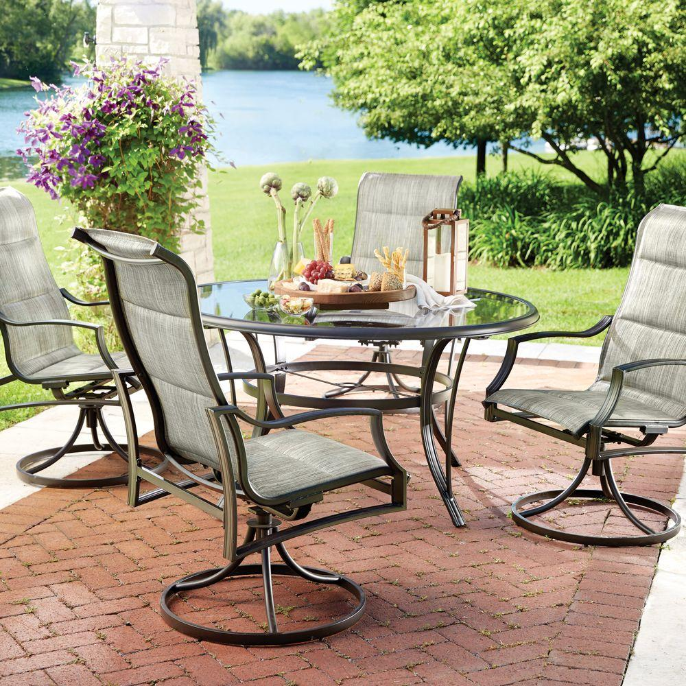 Hampton Bay Statesville 5 Piece Padded Sling Patio Dining Set With 53 In Glass T Patio Dining Furniture Hampton Bay Patio Furniture Patio Furniture Dining Set