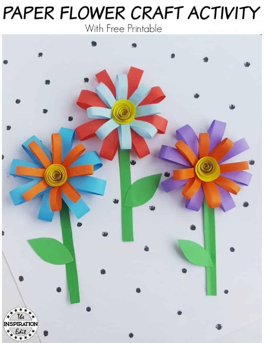 Kids Summer Paper Flower Craft Flower Crafts Paper Flowers For