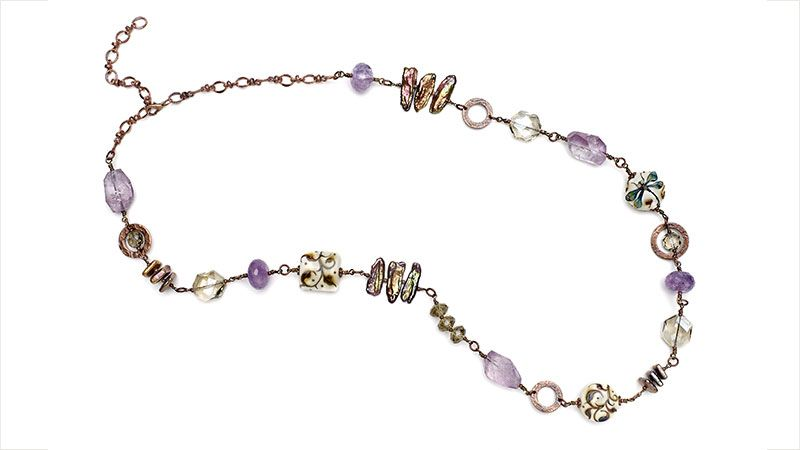 Combine tones of copper, bronze, and lavender in a multitextured necklace and bracelet