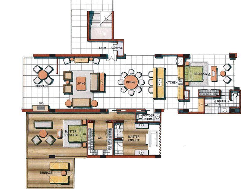 Floor Plan Of The Chava S 2 Bedroom Luxury Apartment