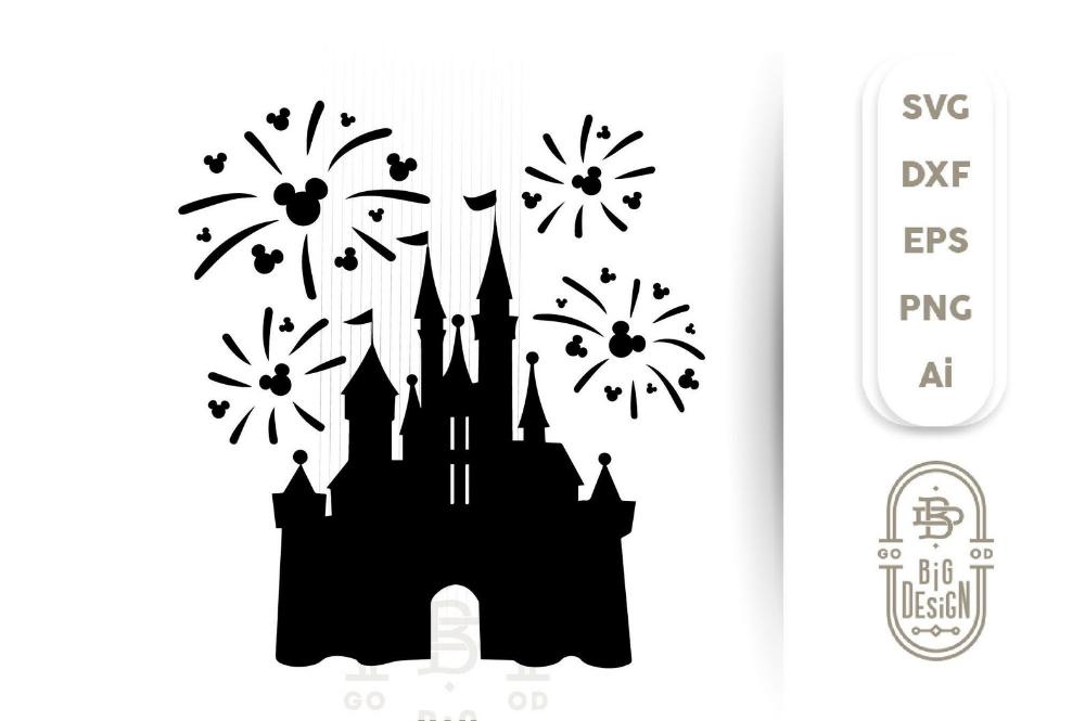 Disney Castle Fireworks Svg Disney Castle Silhouettemickey Etsy Fireworks Svg Cheer Bows Diy Disney Castle