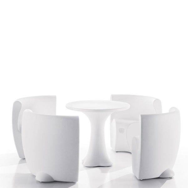 Composici n de mesa y cuatro butacas ergon micas para - Muebles para exteriores ...
