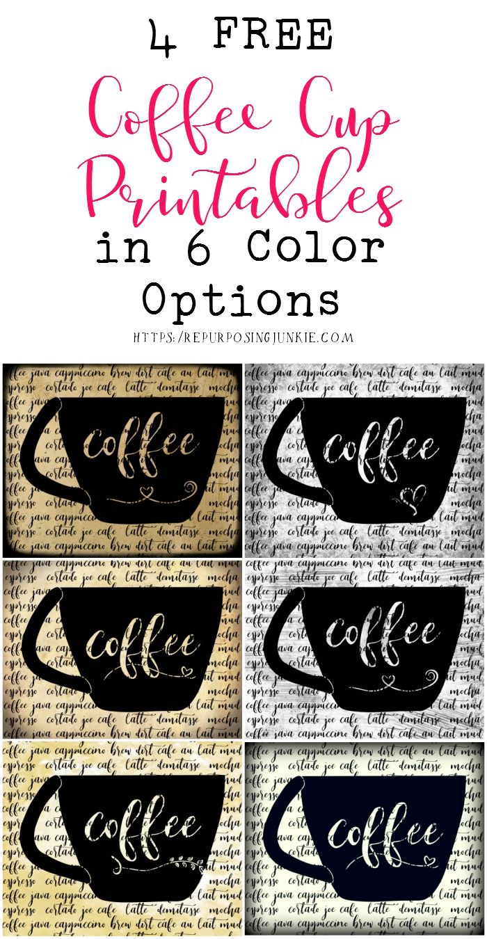 4 Free Coffee Cup Printables in 6 Color Options