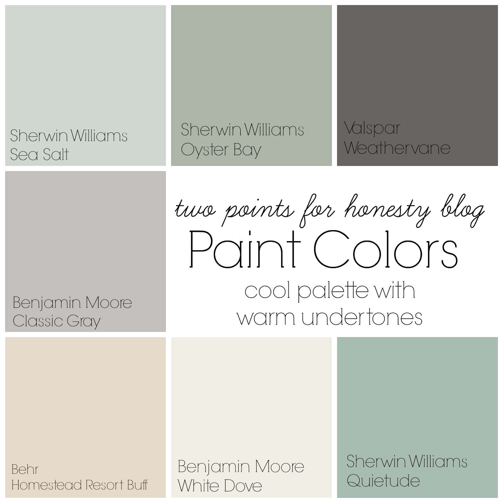 Two points for honesty whole house paint palette household