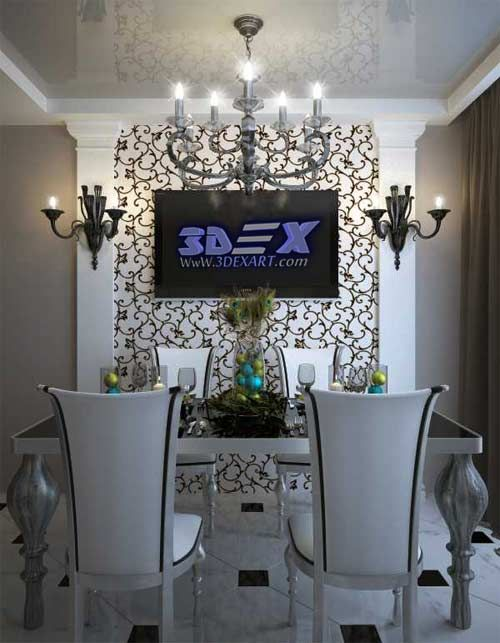 Art Deco Style Dining Room Decor With White Furniture With Wall Gorgeous Wall Art Ideas For Dining Room Inspiration Design