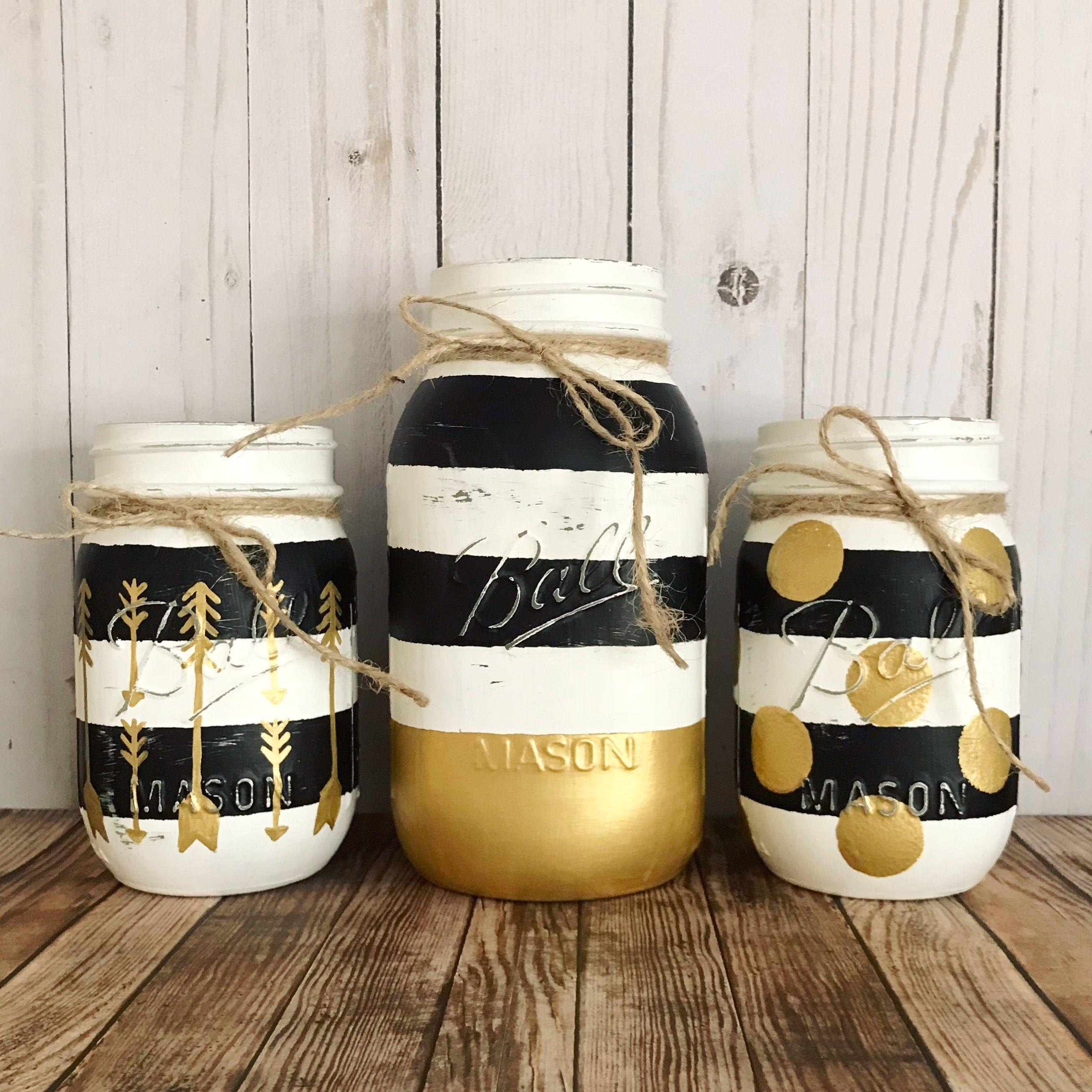Black White And Gold Mason Jar Set Black And White Stripes