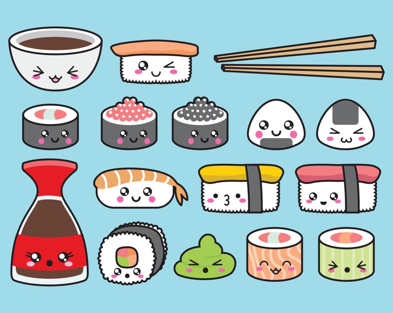 Premium Vector Clipart - Kawaii Sushi Clipart - Kawaii Sushi Clip ...