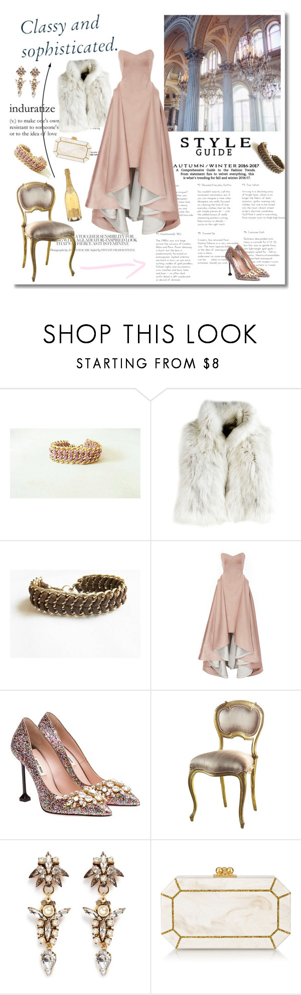 """""""Dance me to the end of love"""" by inesss ❤ liked on Polyvore featuring CO, Zac Posen, Miu Miu, Erickson Beamon and Edie Parker"""