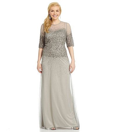 Adrianna Papell Plus Beaded Bodice Sheer Sleeve Gown Mother Of The