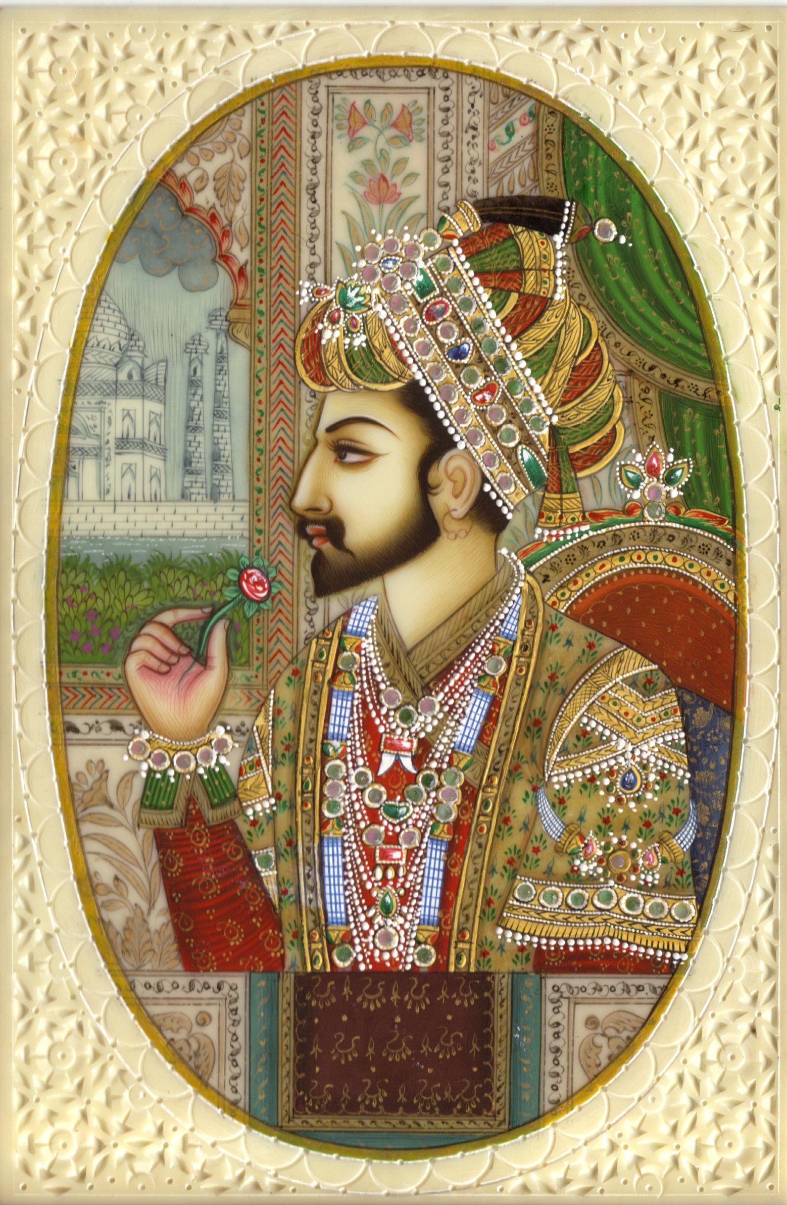 Mughal Empire Art Shah Jahan Handmade Mughal Miniature