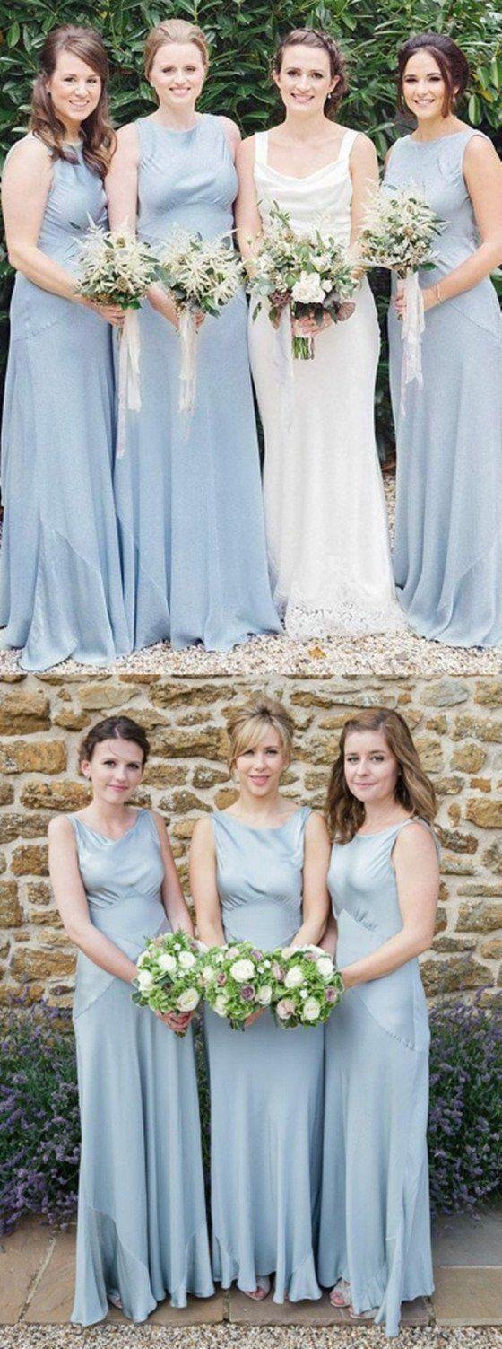Lace up wedding dress november 2018 ALine Round Neck Sleeveless Light Blue Satin Simple Cheap