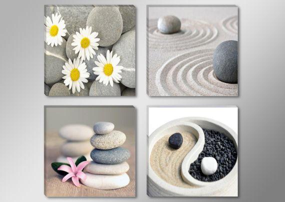 4 cuadros lienzo feng shui spa piedras relax arte dibujo Cuadros decoracion hogar