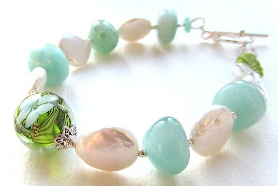 Mint Julep Lampwork Coin Pearl and Amazonite Bracelet by nemeton