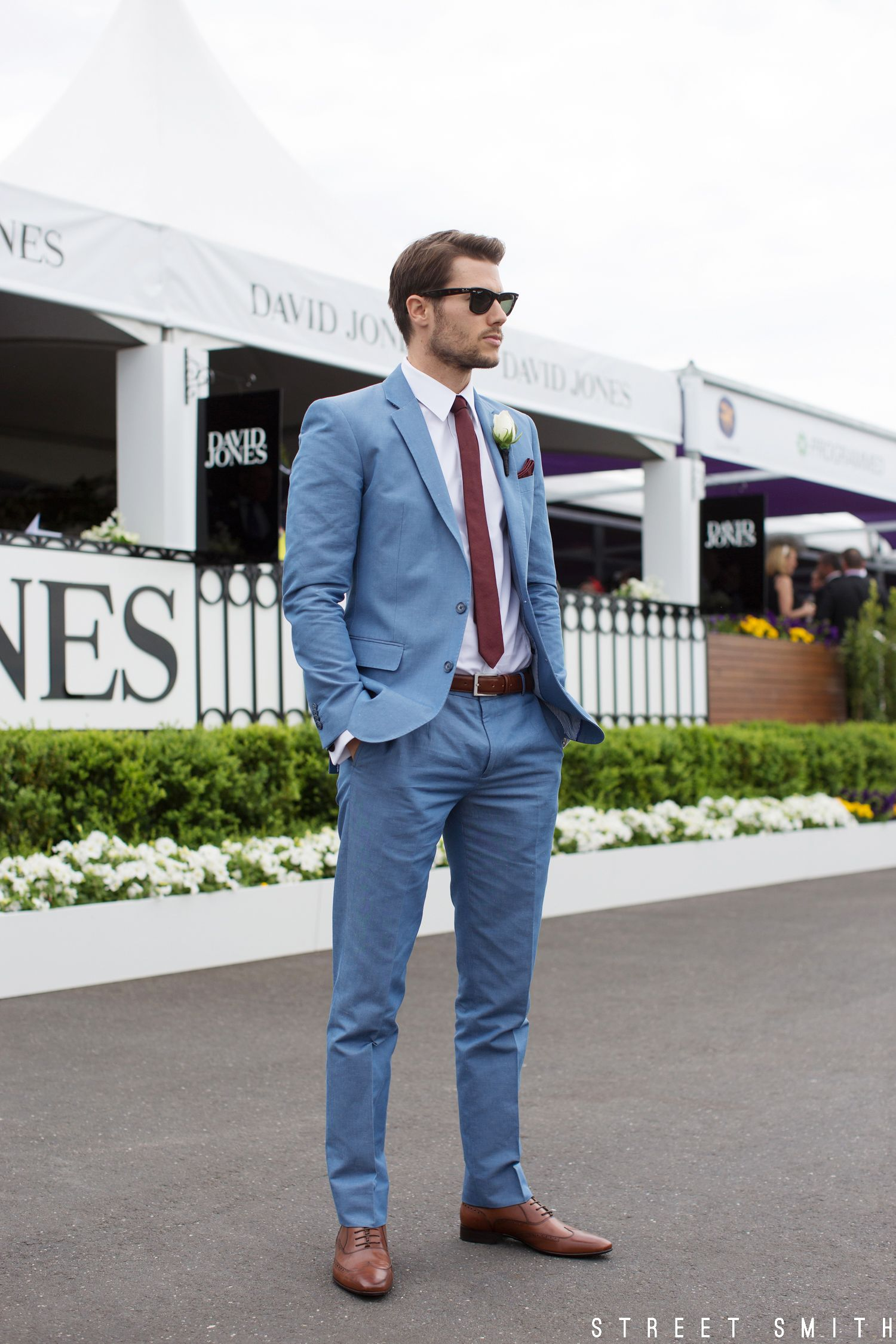 Jason Dundas spotted wearing the Bay Blue Suit at the David Jones Caulfield  Cup
