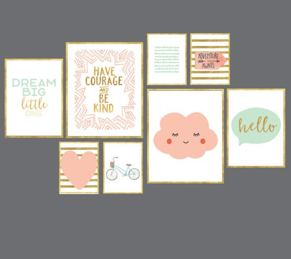 Girls Bedroom Decor - Pink and Gold Girls Room Gallery Wall Art Print set of 8 digital art prints peach gold and mint adventure awaits have courage dream big art