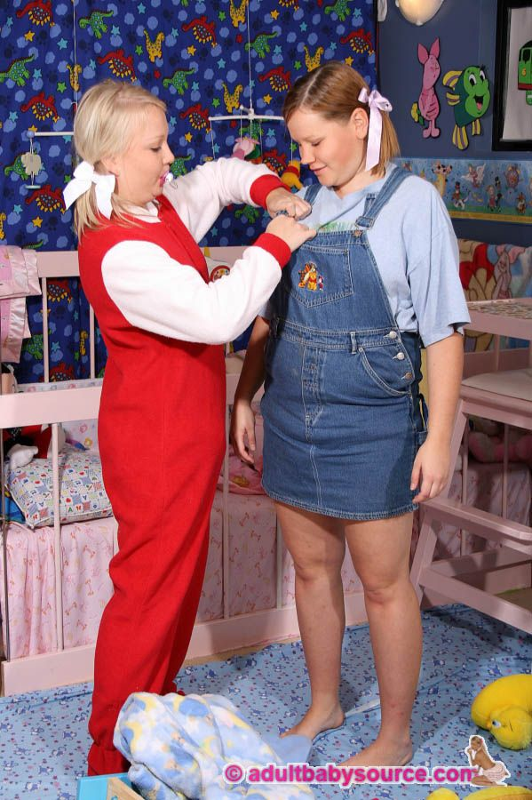 Adult Baby Girl In A Dungaree Dress With Her Sister ABDL