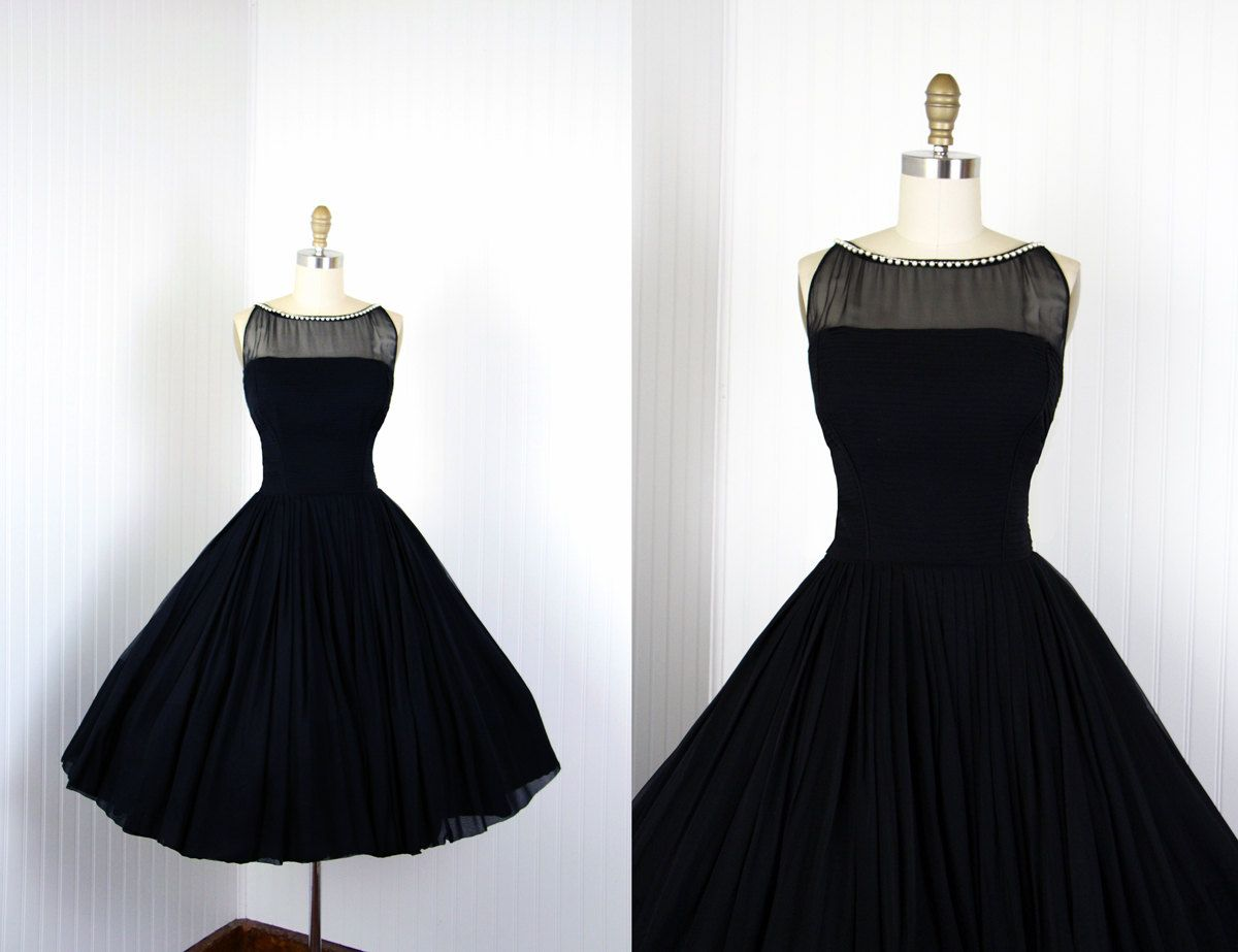 6801b7f89c2 1950s Dress - Vintage 50s Dress - Black Silk Chiffon Designer Princess Cocktail  Dress S - Rappi.  398.00
