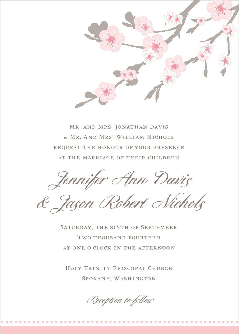 Cherry Blossom Wedding Invitation  Cherry blossom wedding