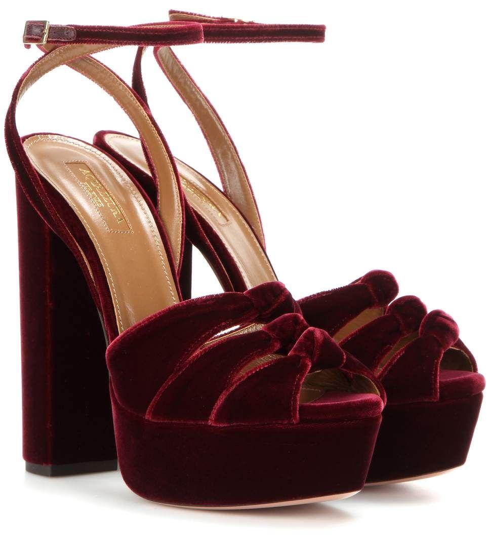 e0a3016e4285 AQUAZZURA Velvet Platform Sandals.  aquazzura  shoes  sandals ...